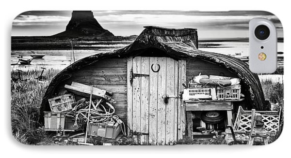 Herring Boat Hut Lindisfarne Monochrome IPhone Case by Tim Gainey