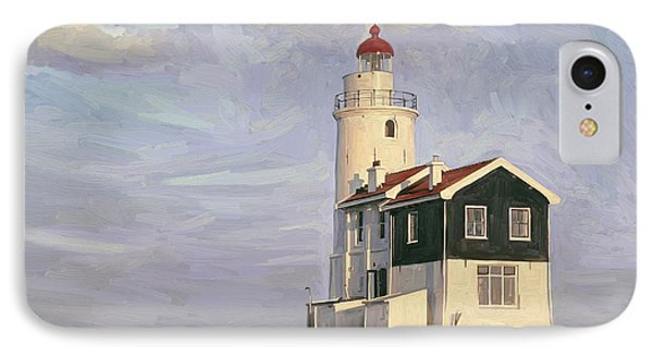 IPhone Case featuring the painting Het Paard Light House by Nop Briex