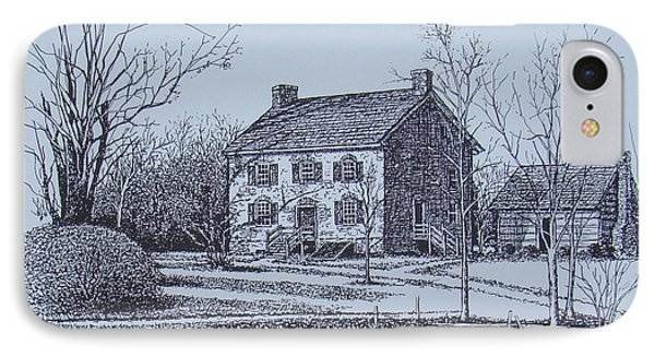 Hezekiah Alexander House Etching Phone Case by Charles Roy Smith