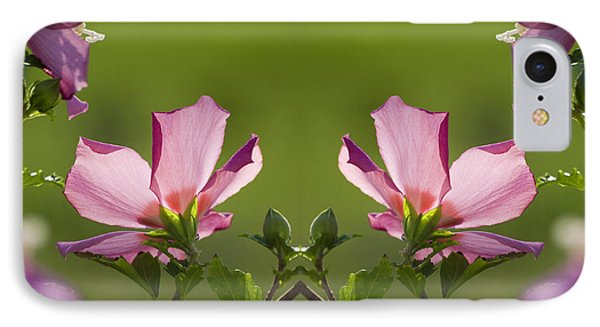 Hibiscus 07 Mirror Image Phone Case by Thomas Woolworth