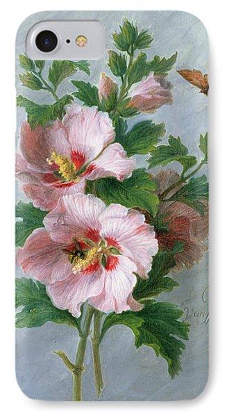 Hibiscus Against A Marble Ledge IPhone Case by Cornelis van Spaendonck