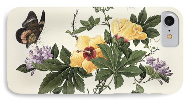 Hibiscus And Butterfly IPhone Case