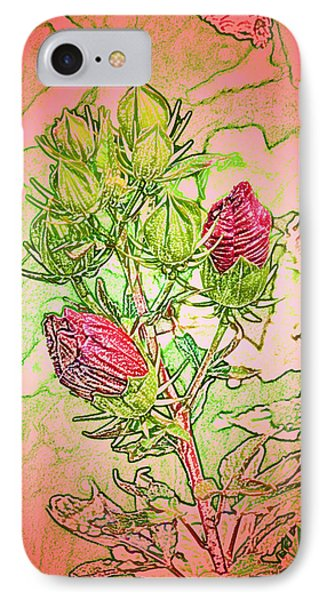IPhone Case featuring the digital art Hibiscus Buds by Kathleen Stephens