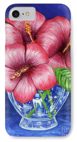 Hibiscus In Glass Vase IPhone Case by Caroline Street