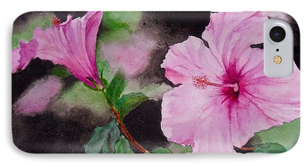 IPhone Case featuring the painting Hibiscus - So Pretty In Pink by Sher Nasser
