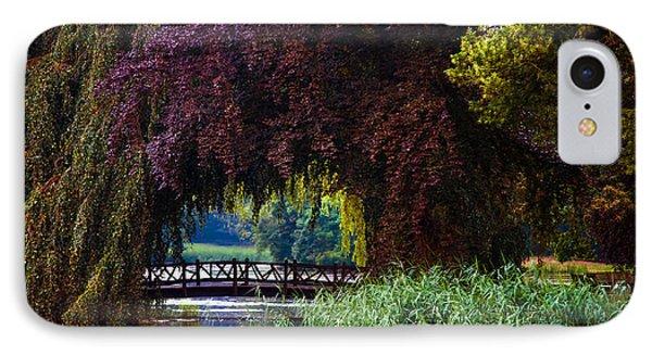 Hidden Shadow Bridge At The Pond. Park Of The De Haar Castle Phone Case by Jenny Rainbow