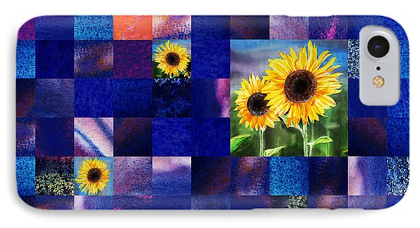Hidden Sunflowers Squared Abstract Design IPhone Case by Irina Sztukowski