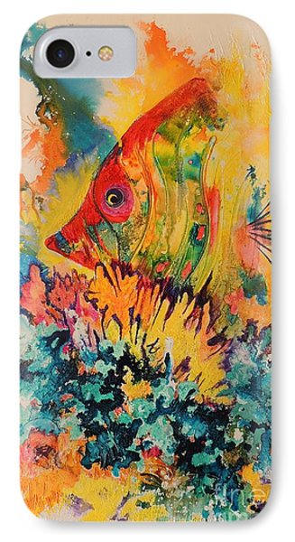 IPhone Case featuring the painting Hiding Amongst The Coral by Lyn Olsen