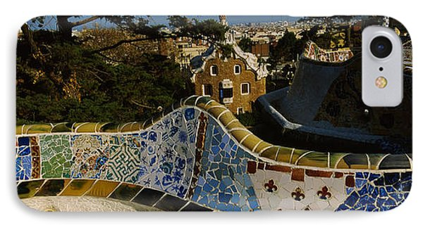 High Angle View Of A City, Parc Guell IPhone Case by Panoramic Images