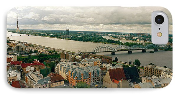 High Angle View Of A City, Riga, Latvia IPhone Case by Panoramic Images