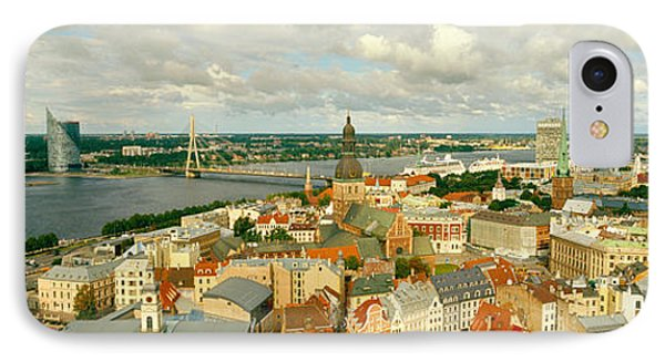 High Angle View Of A Cityscape, Daugava IPhone Case by Panoramic Images