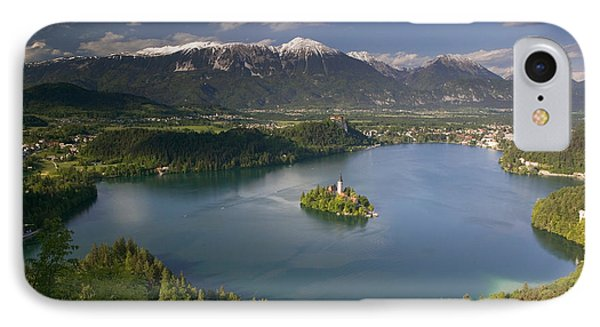 High Angle View Of A Lake, Lake Bled IPhone Case