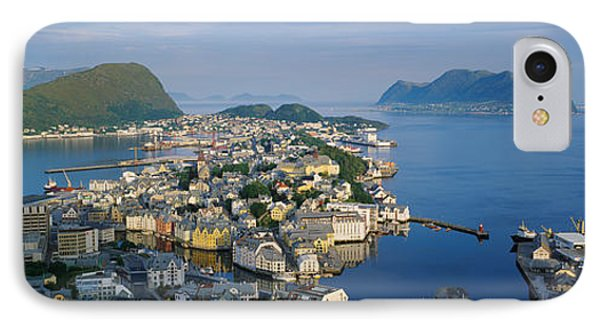 High Angle View Of A Town, Alesund IPhone Case by Panoramic Images