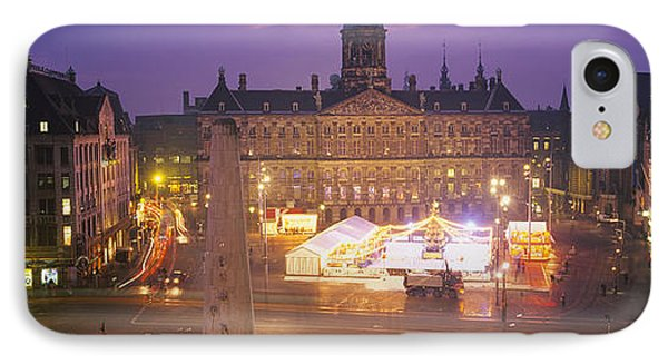 High Angle View Of A Town Square Lit IPhone Case by Panoramic Images