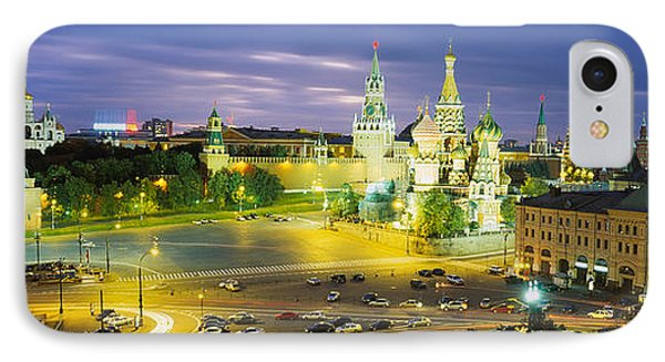 High Angle View Of A Town Square, Red IPhone Case by Panoramic Images