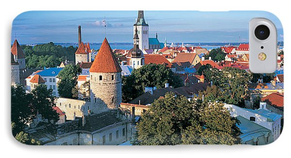 High Angle View Of A Town, Tallinn IPhone Case