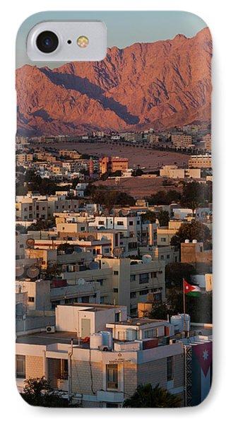 High Angle View Of City, Aqaba, Jordan IPhone Case