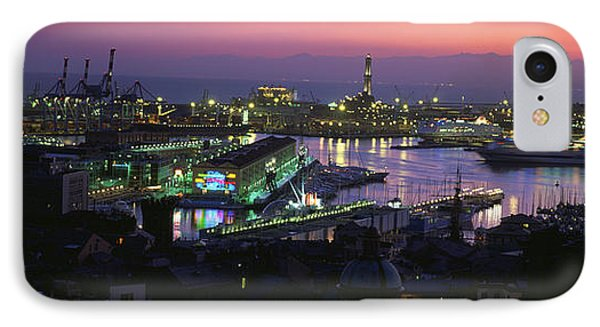 High Angle View Of City At A Port Lit IPhone Case by Panoramic Images