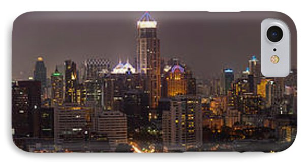High Angle View Of City At Dusk IPhone Case by Panoramic Images
