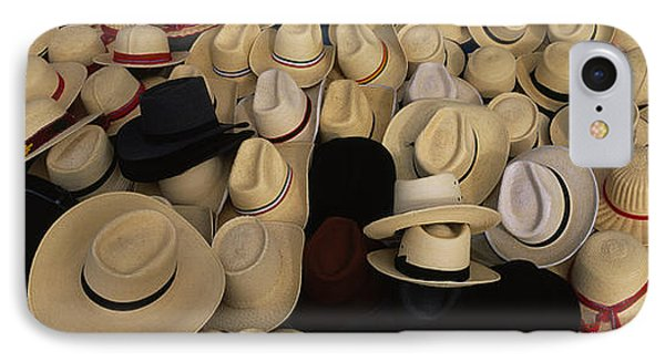 High Angle View Of Hats In A Market IPhone Case by Panoramic Images