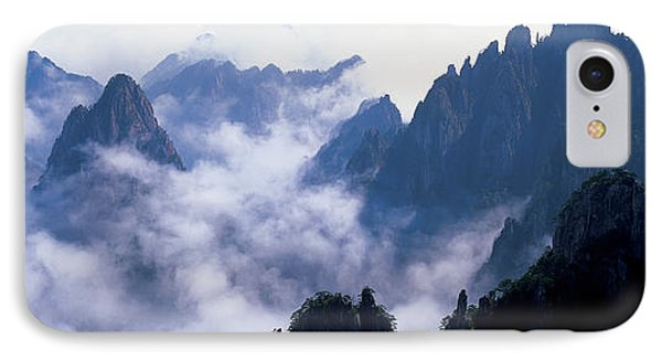 High Angle View Of Misty Mountains IPhone Case
