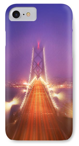 High Angle View Of Suspension Bridge IPhone Case by Panoramic Images