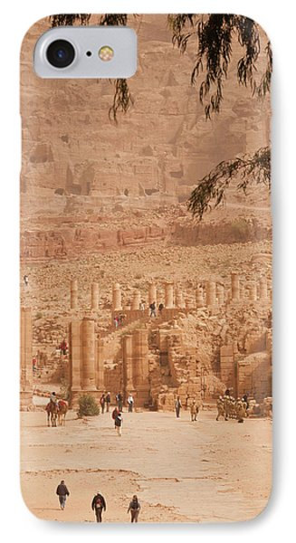 High Angle View Of Tourists At Ancient IPhone Case