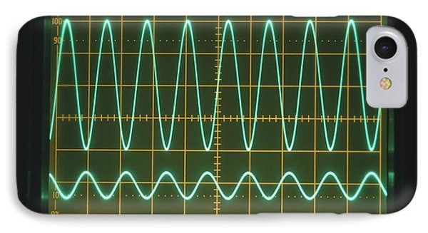 High Frequency Sine Waves On Oscilloscope IPhone Case by Dorling Kindersley/uig