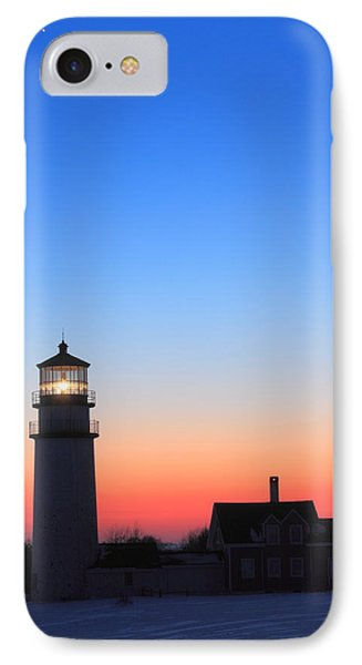 Highland Lighthouse And Moon Venus Mars Conjunction IPhone Case by John Burk
