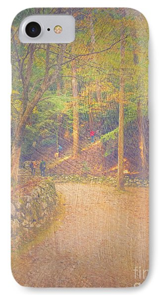 Hikers Walking Along Tranquil Kozan-ji Forest Kyoto Japan IPhone Case by Beverly Claire Kaiya