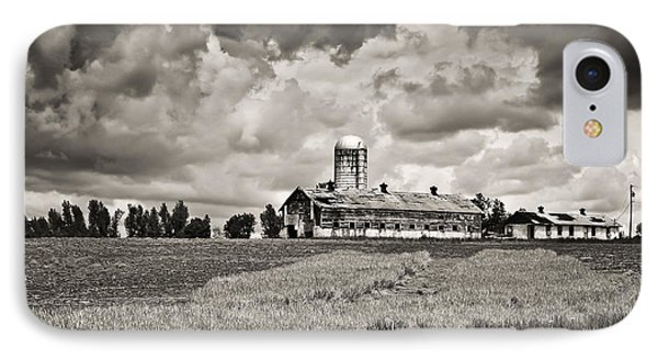 Hilltop Barn Under Storm Clouds 2 Bw IPhone Case by Greg Jackson