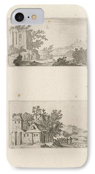 Hilly Landscape With Ruins And A Farm In The Hills IPhone Case