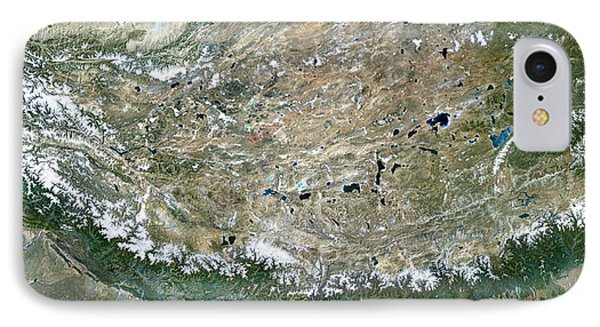 Himalaya Mountains Asia True Colour Satellite Image  IPhone Case by Anonymous