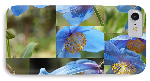 Himalayan Blue Poppy Collage Phone Case by Jennie Marie Schell