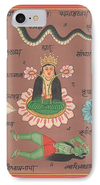 Hindu Goddess Laxmi Welth Money Handmade Painting Artist Water Color Flower Hinduism Yoga IPhone Case by A K Mundhra