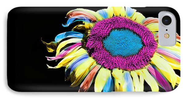 Hippie Sunflower Rainbow Painterly Phone Case by Andee Design