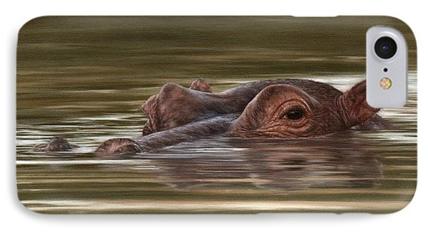 Hippo Painting IPhone Case by Rachel Stribbling