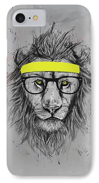 Lion iPhone 7 Case - Hipster Lion by Balazs Solti