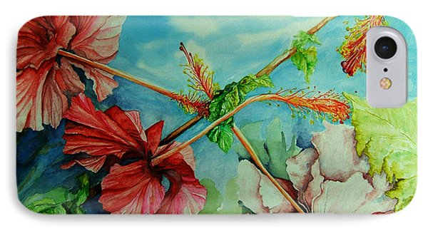 IPhone Case featuring the painting Hiroko's Hibiscus 3 by Rachel Lowry