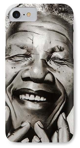 His Excellency Nelson Mandela IPhone Case by Brian Broadway