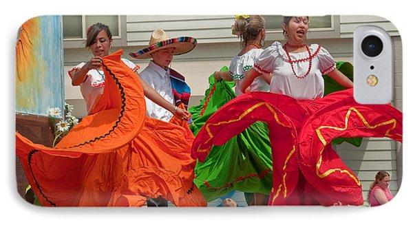 Hispanic Women Dancing In Colorful Skirts Art Prints IPhone Case