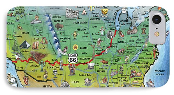 Historic Route 66 Cartoon Map IPhone Case