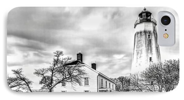 Historic Sandy Hook Lighthouse In Black And White IPhone Case by Geraldine Scull