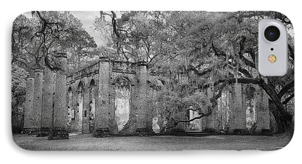 Historic Sheldon Church 6 Bw IPhone Case by Carrie Cranwill