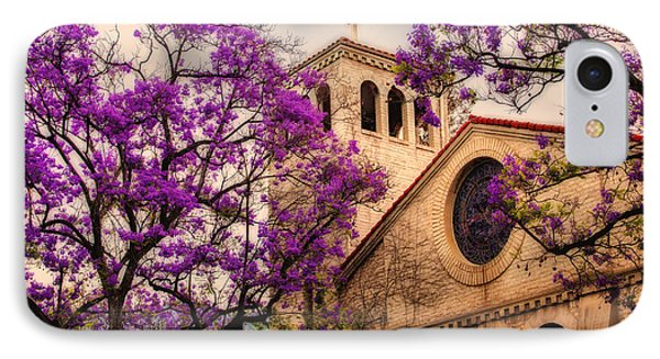 Historic Sierra Madre Congregational Church Among The Purple Jacaranda Trees  Phone Case by Jerry Cowart
