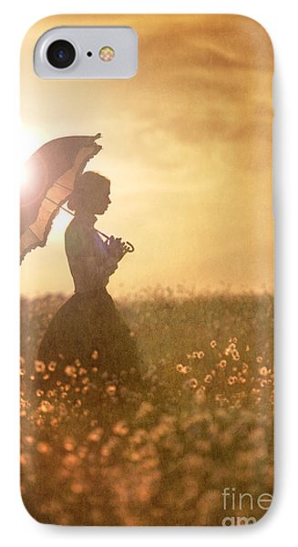 Historical Woman With Parasol In A Meadow At Sunset Phone Case by Lee Avison