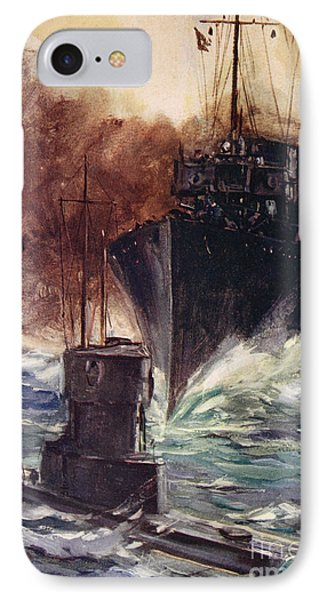 Hms Badger Ramming A German Submarine IPhone Case by Cyrus Cuneo