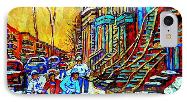 Hockey Art Montreal Winter Scene Winding Staircases Kids Playing Street Hockey Painting  Phone Case by Carole Spandau