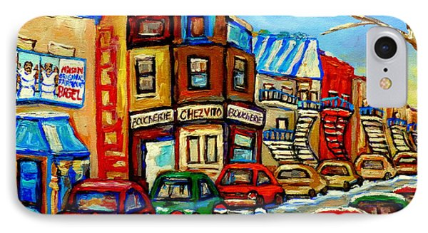 Hockey Art Montreal Winter Street Scene Painting Chez Vito Boucherie And Fairmount Bagel Phone Case by Carole Spandau