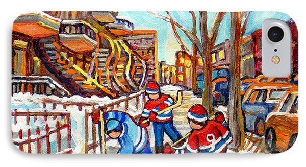 Hockey Game Near Montreal Staircases Winter Scenes Paintings Carole Spandau IPhone Case by Carole Spandau